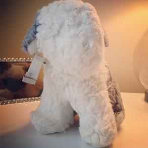 Acie my stuffed sheepdog with hospital bracelet on it's ear